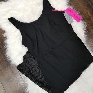 Betsey Johnson Embroidered LBD Black Dress 10 NWT